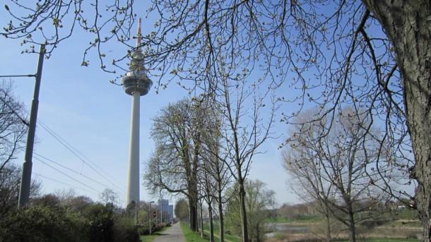 Der Neckartal-Radweg führt am Fernsehturm mannheim vorbei.
